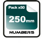 25cm (250mm) Race Numbers - 50 pack